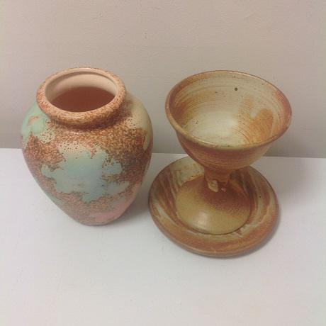 Ceramic Studio Pottery Chalice & Plate With Vase/Urn For Sale - Image 7 of 7