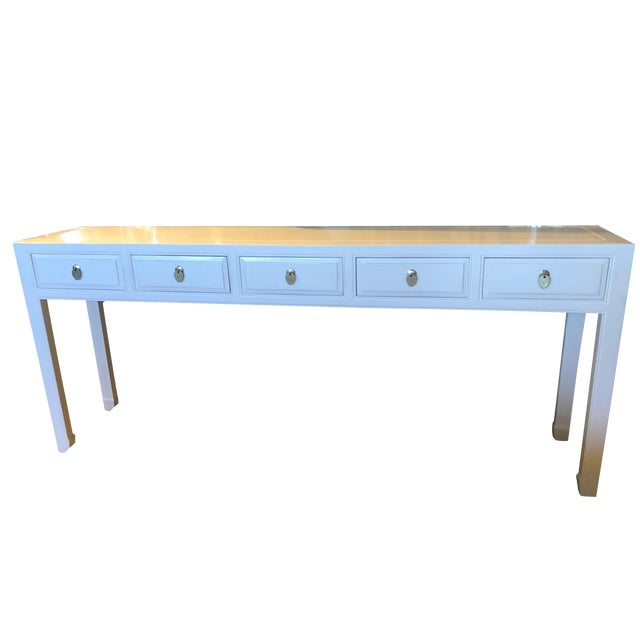 Asian Modern White Lacquer 5-Drawer Console Table For Sale