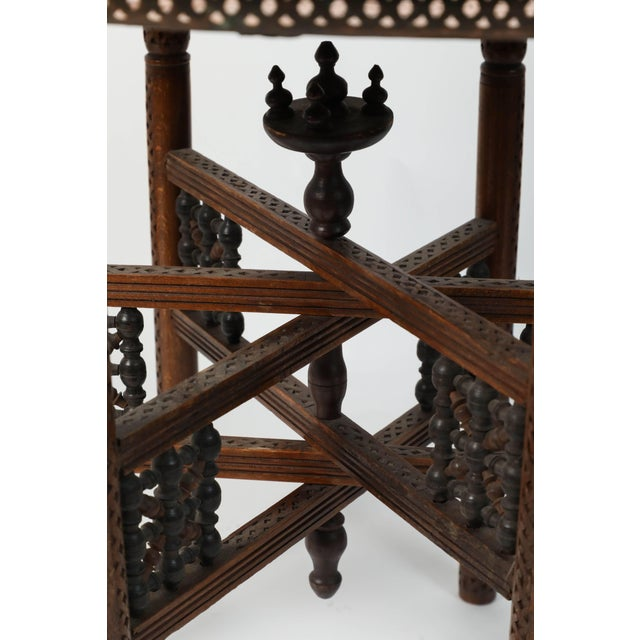 Brass Moroccan Copper Tray Table With Folding Base For Sale - Image 7 of 11