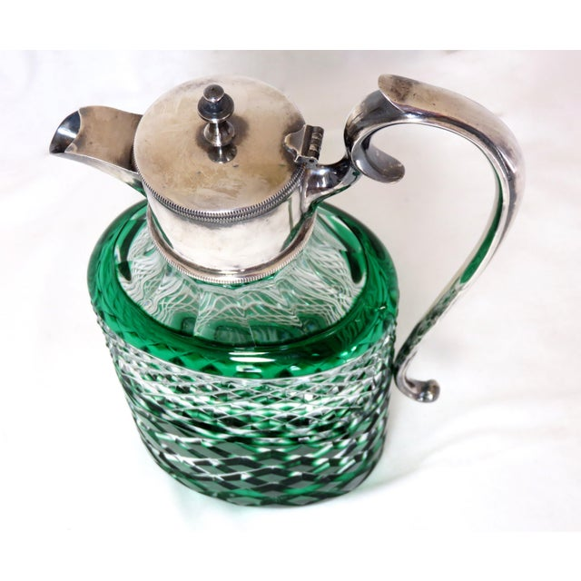 Antique Bohemian Cut Glass Emerald Green Wine Pitcher For Sale - Image 4 of 7
