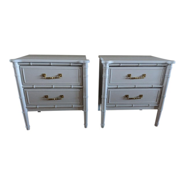 1970s Chinoiserie Henry Link Faux Bamboo High Gloss White Night Stands - a Pair For Sale