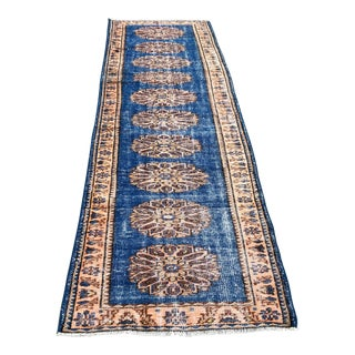 1960s Vintage Turkish Oushak Runner Rug - 3′2″ × 10′11″ For Sale