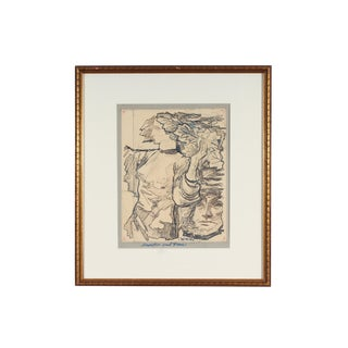 "20th Century Expressionist Ink Drawing on Paper, ""Demeter Und Pace"" by Hans Orlowski For Sale"