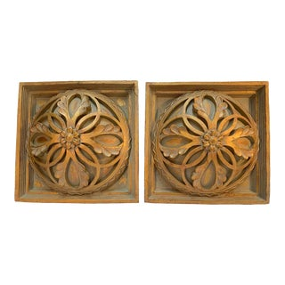 Square Cast Wall Medallions in Open Leaf Design - a Pair For Sale