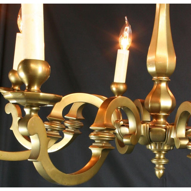 Vintage 1950 French Brass 8-Arm Chandelier - Image 6 of 7