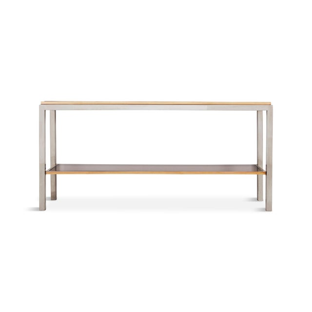 Exceptionally large console table by Willy Rizzo from his Linea Flaminia collection a two tier console table in chromed...