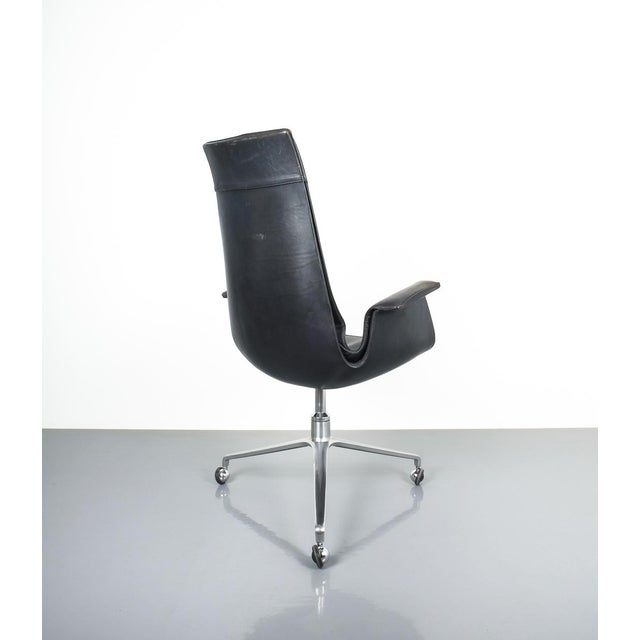 Black Blue High Back Bird Desk Chair by Fabricius and Kastholm Fk 6725, 1964 For Sale - Image 10 of 12