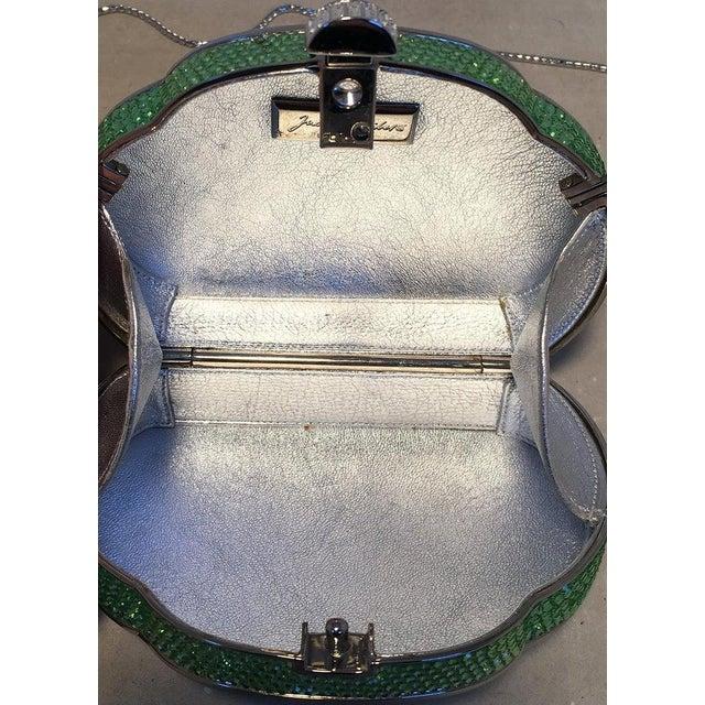 Metal Judith Leiber Green Swarovski Crystal Minaudiere Evening Bag For Sale - Image 7 of 9