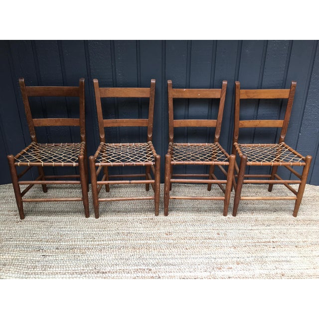 Beautiful early American rawhide ladder back chairs. From the Aurora Commune in Oregon, dating late 1800s / early 1900s....