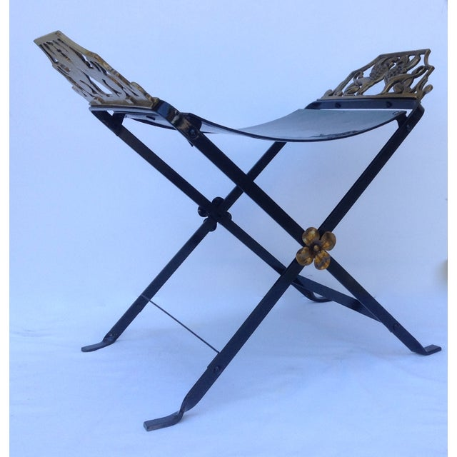 1920s Neoclassical Iron X-Frame Gryphons Bench - Image 10 of 10