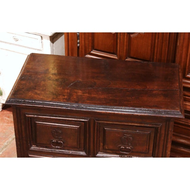 17th Century Spanish Catalan Carved Walnut Two-Door Buffet Cabinet For Sale - Image 4 of 13