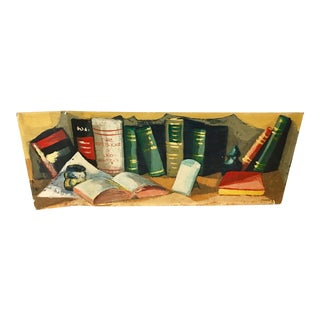 """Vintage """"Books with Inkwell"""" Painting on Board Signed Ginsburg For Sale"""