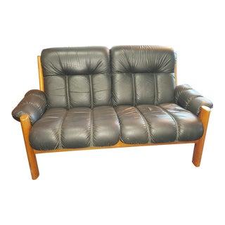 1970s Vintage Scandinavian Ekornes of Norway Montana Collection Solid Teak & Leather Loveseat For Sale