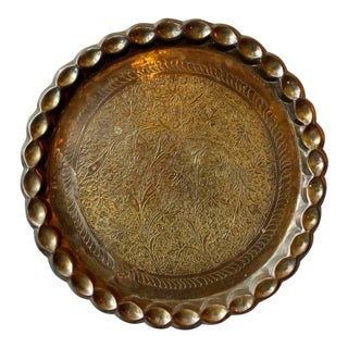 Vintage Hand Etched Tray For Sale