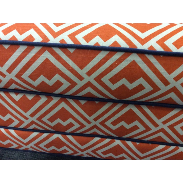 Vintage Orange & White Ottoman For Sale In Raleigh - Image 6 of 8