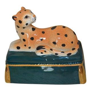 Vintage Porcelain Leopard Trinket Box For Sale