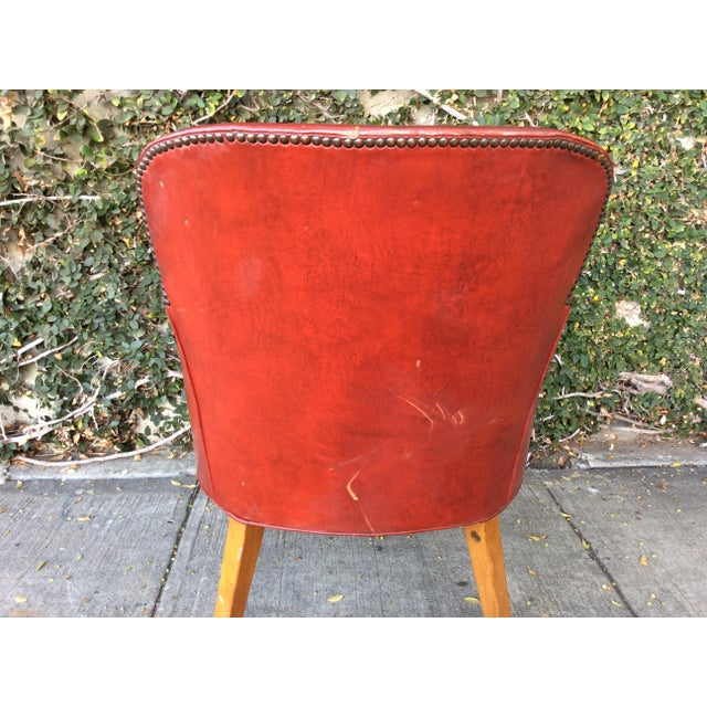 Vintage Red Leather Side Chair For Sale In Los Angeles - Image 6 of 9