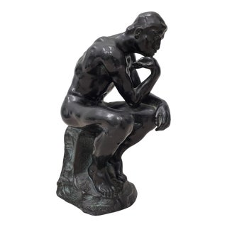 """Early 20th Century Patinated Metal """"Thinker"""" Sculpture For Sale"""