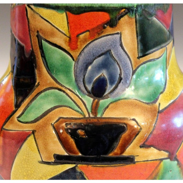 Awaji Pottery Art Deco Japanese Mock Cubist Fractured Picture Plane Vase Signed For Sale - Image 4 of 10