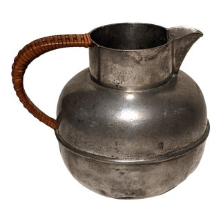 Early 20th Century Wilcox Pewter Pitcher With Wicker Rattan Wrapped Handle For Sale