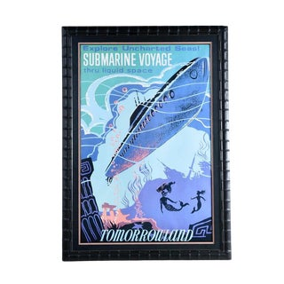 Massive Framed Disney Tomorrowland Submarine Voyage and Mermaid Poster For Sale
