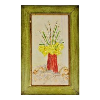 Vintage Rustic Framed Floral Still Life Oil on Board Painting - Artist Signed For Sale