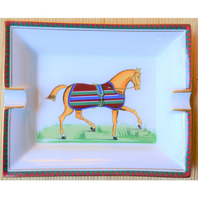 1970s 1970s Vintage Hermes Striped Equestrian Cigar Tray For Sale - Image 5 of 10