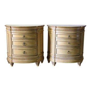 Swedish Style Distressed Cream Painted Demilune Nightstands - A Pair