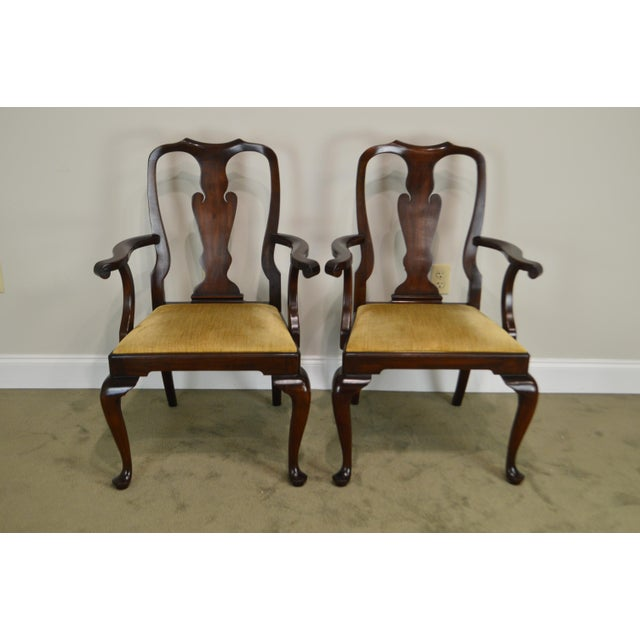 Henkel Harris Queen Anne Style Mahogany Pair of Arm Chairs #110a For Sale - Image 10 of 12
