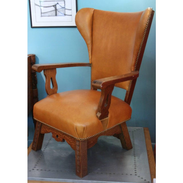 Early 20th Century Unusual Exposed Wood Wing Chair With Carved Detail and Leather Upholstery For Sale - Image 5 of 6