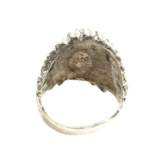 Sterling Silver Indian Chief Head Ring For Sale - Image 4 of 6