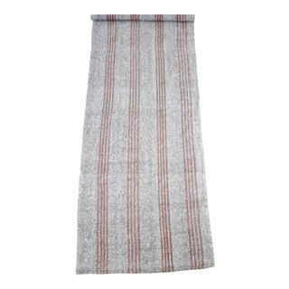 Vintage York Flat-Weave Turkish Rug in Gray Cream and Light Coral Stripes For Sale
