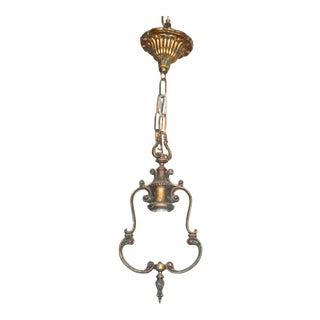 Art Nouveau Polychrome Ceiling Pendant Light/Chandelier For Sale