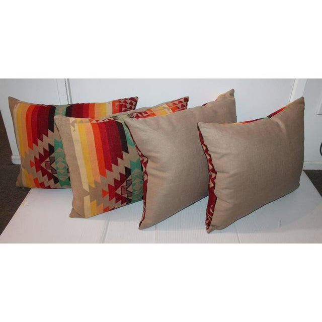 Amazing Flying Geese and Striped Pendleton Pillows For Sale - Image 4 of 8