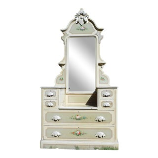 Antique Victorian Cottage Princess Drop Well Hand Painted Dresser Vanity Mirror For Sale