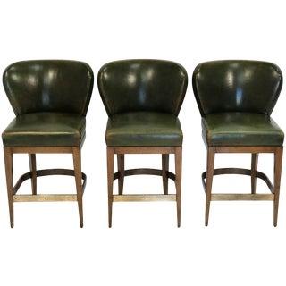 1990s Vintage Dessin Fournir Green Leather Bar Stools- Set of 3 For Sale
