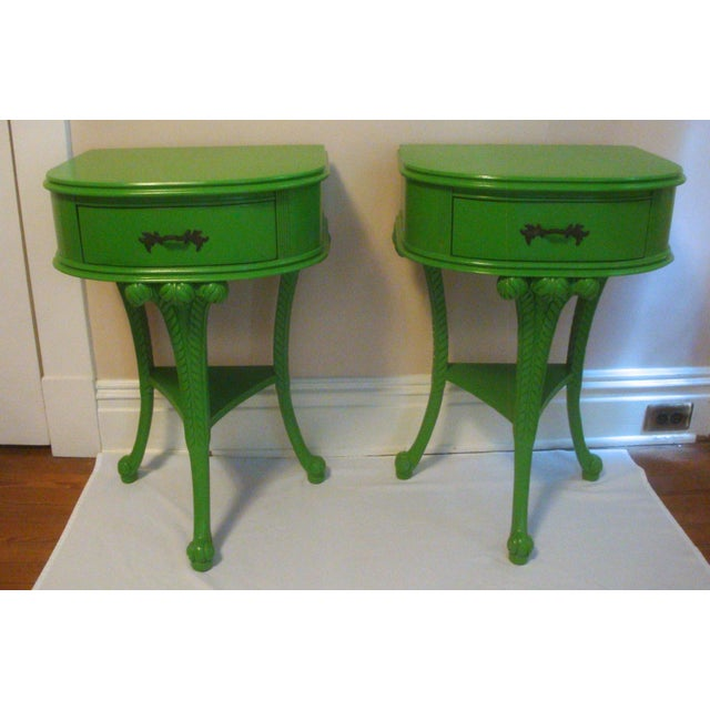 Pair Feather Plume Nightstands Side Tables Prince of Wales For Sale - Image 11 of 11