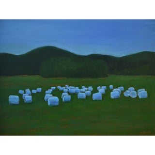 """Baled Hay at Dusk"" Contemporary Painting by Stephen Remick For Sale"