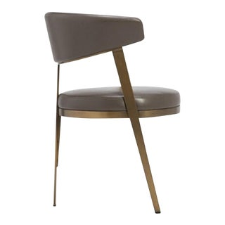 Mid-Century Modern Bronze Steel and Faux Leather Dining Chair For Sale
