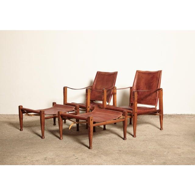 Rud Rasmussen Kaare Klint Safari Chairs and Footstools, Rud Rasmussen, Denmark, 1950s For Sale - Image 4 of 11
