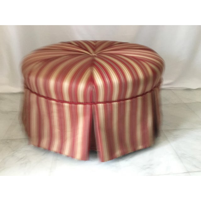 2000 - 2009 Traditional Round Stripe Upholstered Pleated Skirt Ottoman For Sale - Image 5 of 7