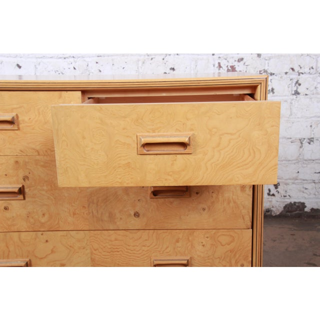 Wood Milo Baughman Style Burl Wood Long Dresser or Credenza by Henredon For Sale - Image 7 of 13