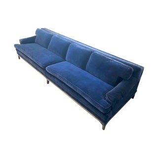 Vintage Mid Century Monteverdi-Young Blue Velvet Sofa For Sale