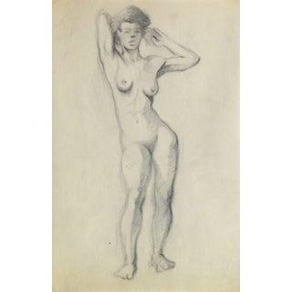 Jean Ernst, Nude Pencil Sketch - Standing Female For Sale