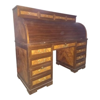 Vintage Roll Top Desk With Burl Inlays and Jade Marble For Sale