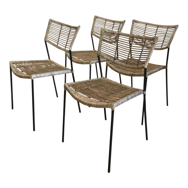 Modern Rattan and Wrought Iron Dining Side Chairs- 2 Left For Sale