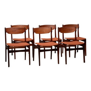 Teak & Orange Fabric Dining Chairs - Set of 6