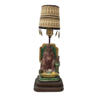 Early 20th Century Chinese Buddha & Disciple Glazed Ceramic Table Lamp C.1910 For Sale