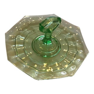 Vintage Green Glass Handled Serving Tray For Sale