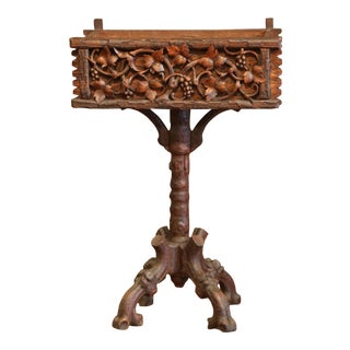 19th Century French Black Forest Carved Walnut Pedestal Plant Stand With Grapes